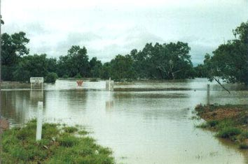 The Landsborough River at Muttaburra in the February/March, 2000 floods. The only bitumen road out of town was cut for 2 weeks.