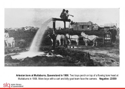 Artesian Bore at Muttaburra 1906 Photo from the State Library of Qld