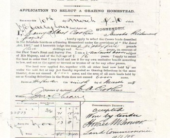 Application To Select A Grazing Homestead - 1908
