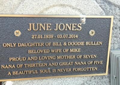 June Jones plaque